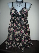 CHEMISE SIZE 12 FLORAL CHIFFON & SATIN SHORT NIGHTDRESS FROM BOUX AVENUE BNWTS