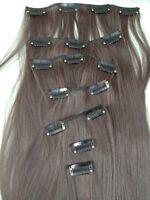 "dark brown 7 pcs set straight 20"" long clip in on hair extension heat resist new"