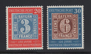 Germany Sc 667-668 MNH. 1949 German Stamp Centenary, Postage cplt F-VF appearing