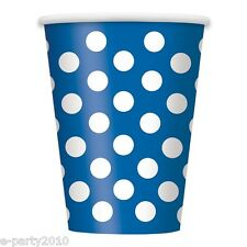 BLUE POLKA DOT 12oz PAPER CUPS (6) ~ Birthday Party Supplies Drinking Beverage