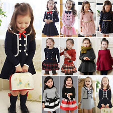 Kids Girls Long Sleeve Princess Dress Winter Casual Swing Dress Clothes Age 1-9Y
