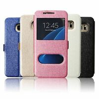 S-View Dual Window Leather Stand Flip Wallet Case Cover For Samsung Galaxy S6