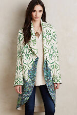 Anthropologie Sugar Pine Sweater Coat Sz L, Ivory & Green Oversized Cocoon, Moth