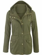 Women's Military Anorak Safari Jacket with Pockets and Hood Coats S,M,L