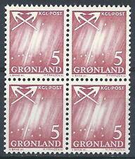 Greenland 1963 Sc# 49 Northern lights block 4 Mnh