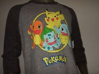 New Men's  Pokemon Charmander Squirtle Bulbasaur Pikachu Anime Raglan T Shirt