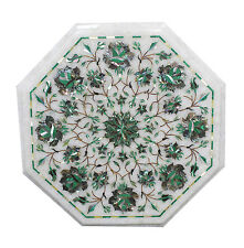"""18""""x18"""" Marble Side Corner Table Top Malachite Inlay Marquetry Pauashell"""