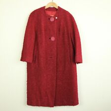 Vintage 60s Swing Coat Red Boucle Jacket Winter Mod M L Missing Button