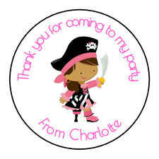 Pirate Girl Pink Personalised Thank You Sticker Party Sweet Cone Birthday