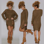 Plus Size Womens Long Sleeve Sweater Jumper Dress Knitted Loose Long Blouse Top