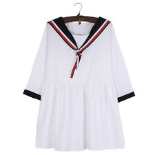 Women Girl Kawaii Dress Stripe Sailor Collar Spring Summer Casual Preppy Style