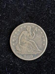 1876 Seated Liberty Silver Half Dollar United States 50c