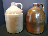 2 Early American Stoneware Jug TJ Henry Sand Mnt Alabama Early 1900 Salt Glaze