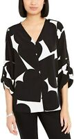Alfani Womens Button-Front Black Size Medium M Gethered-Sleeve Blouse $69 173