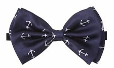 NEW Tuxedo PreTied Navy Blue Anchor Bow Tie Satin Adjustable Brand