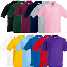 Fruit of The Loom Kids Boys Girls Childrens School Plain Polo Shirt SS417