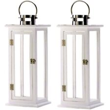 """2 Wood Lantern 24""""Tall White Silver Extra Large Candleholder Centerpieces"""