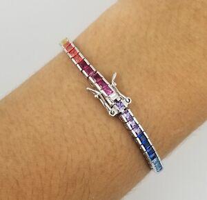 14k White Gold Sterling Silver Square Blue Sapphire & Multi Gem Tennis Bracelet