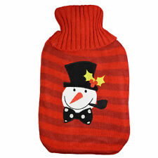 Novelty Knitted Snowman Christmas Xmas Hot Water Bottle & Cover Warmer