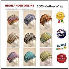 100% Cotton Nepal Chemo wrap Headband Hijab Neck Warmer Loopy Scarf Hair Band 1