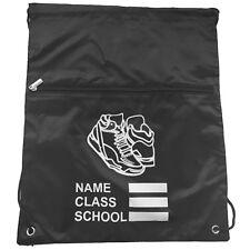 Black Personalised Kids School Zip Gymsac Sports Nursery Shoe Swim Bag
