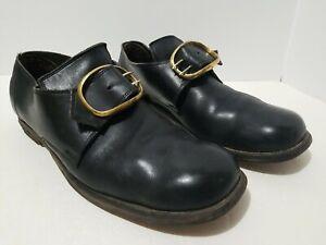 VTG RARE UNBRANDED Black Leather Center Monk Strap Buckle Shoes 10.5 D USA MADE