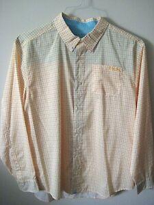 HUK PERFORMANCE FABRICS mens Large Button Front Yellow Long Sleeve Fishing Shirt