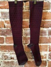 Copper Fit Burgundy Red Dots Knee-High Compression Socks Unisex L/XL NEW