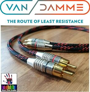 Linear Cyrstal Van Damme/Gold RCA Phono Cable Black & Red braided 0.5m pair