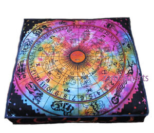 "35"" Zodiac Print Indian Large Floor Pillow Decorate Pet Bed Cushion Cover Throw"