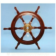 Wood and Brass Ships Wheel - 30cm Nautical Wheel Decoration - Ideal Gift