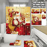 4Pcs Christmas shower Curtain Bathroom Anti-slip Carpet Rug Toilet Cover Mat Set