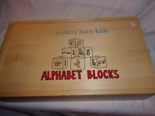 POTTERY BARN KIDS 25 Wooden Alphabet Blocks ABC Animals In Box Educational Toy