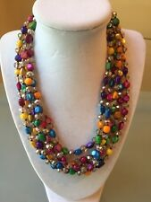 NWOT Multi Color Rainbow And Crystal Bead Layered Necklace