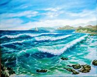 "Art30""/24"" oil painting, Seascape,waves,surf,ocean,beach,sea, landscape"