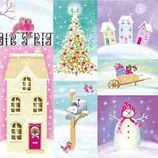 Christmas 20 Paper Lunch Napkins PASTEL WINTER Colourful Pastel Snowman Tree / D