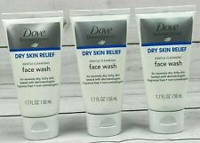 3 Dove Derma Series Dry Skin Relief Gentle Cleans Face Wash 1.7 oz each Lot of 3