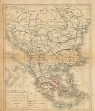 TURQUIE D' EUROPE TURKIYE GRECE ANCIENNE CARTE LOUIS DUSSIEUX OLD MAP 1868