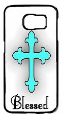 Teal Blessed Christian Cross Case Rubber/Hard Cover Samsung Galaxy&Note Models