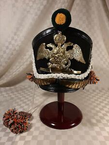 IMPERIAL RUSSIAN LIFE GUARD JAEGER NCO KIVER SHAKO HELMET NAPOLEONIC 1812-1814