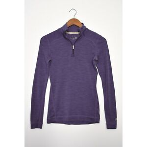 SMARTWOOL Merino 250 1/4 Zip Base Layer Pullover Wool Top Purple size Small