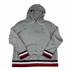 Tommy Hilfiger Womens Large Grey Embossed Logo Hoodie