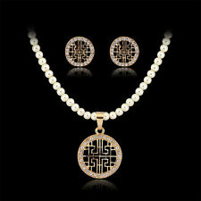 New Round pendant 18K gold crystal pearls women  lady necklace Earring Set Gift