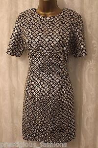 ASOS Mirror Embellished Short Sleeve Contrast Tunic Shift Party Dress UK 12 40