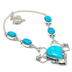 "Santa Rosa Turquoise Gemstone Handmade Ethnic Gift Jewelry Necklace 18"" JH"