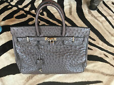 Genuine Ostrich Leather Tote Style Handbag Purse - made in Italy