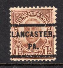 USA = PRECANCEL - `LANCASTER / PA.` on 1.5c Harding. (r)