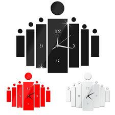 FR_ EG_Creative moderne DIY 3D Surface Du Miroir Horloge murale