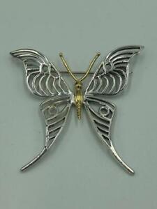 Lagos Caviar Sterling Silver 18K Gold Butterfly Brooch Pin - Stunning!