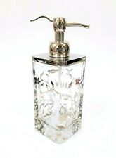 NEW THICK CLEAR GLASS+SILVER FLORAL+CHROME TONE METAL SOAP LOTION DISPENSER